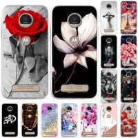 Funda de flor rosa para móvil, carcasa protectora de silicona TPU para Motorola Moto G Fast Pro G100, G4 Play Z3 X3Play