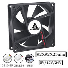 Gdstime-ventilador de refrigeración de flujo Axial, sin escobillas, 5V, 12V, 24V, 92x92x25mm, 90mm, 9cm, 9225 piezas, caja de ordenador, refrigerador de equipo Industrial, 1 Uds.
