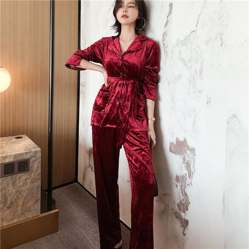 Winter New Keep Warm Long Sleeve Women Pajama Set Gold Velvet High Quality With Belt Pyjamas