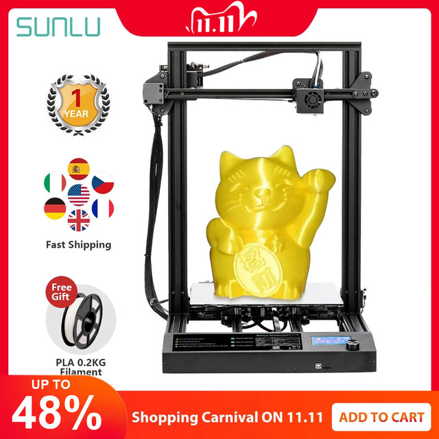 SUNLU S8 FDM 3D Printer Larger Printing Size PLA ABS PETG 3d Filament Extruder Resume Power Failure Printing Desktop 3D Printer