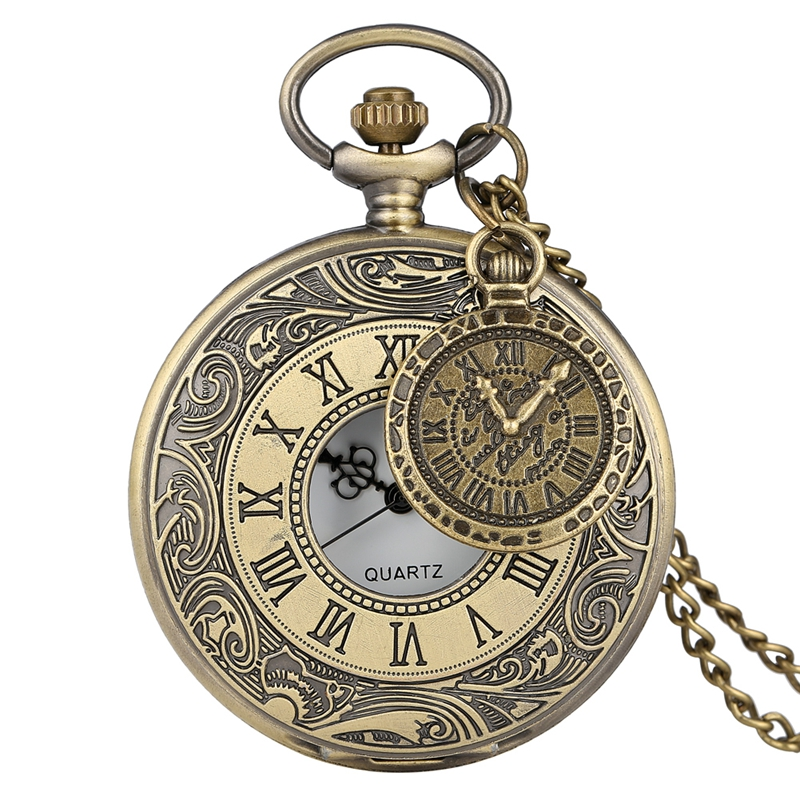 Retro Bronze Engraved Roman Numeral Quartz Pocket Watch Hollow Antique Necklace Chain Gifts For Men Women Watch Clock Accessory