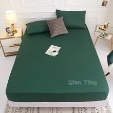 (Nuevo en el producto) 1 Pza 100% poliéster sólida Funda de colchón de hoja cuatro esquinas con sábana de banda elástica