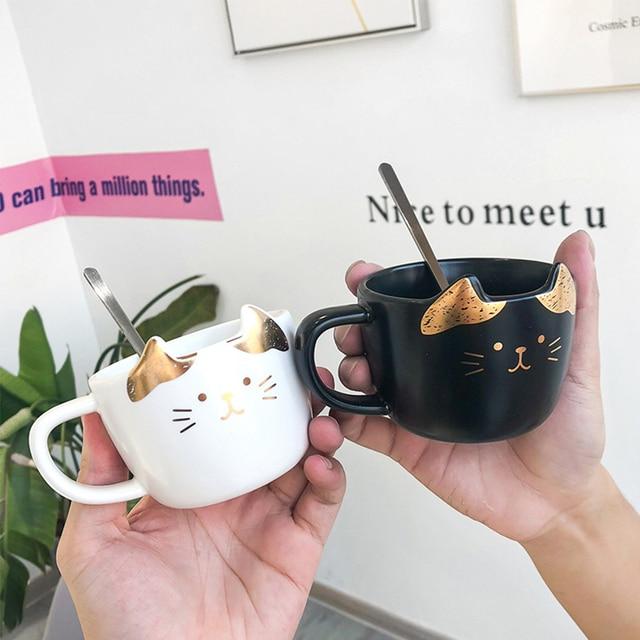 Cat Ceramic Coffee Cup Set  2