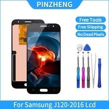 Pinzheng tela lcd 100% original para samsung galaxy, peças de reposição para montagem, digitalizador e display de lcd, j120 2016 j120f