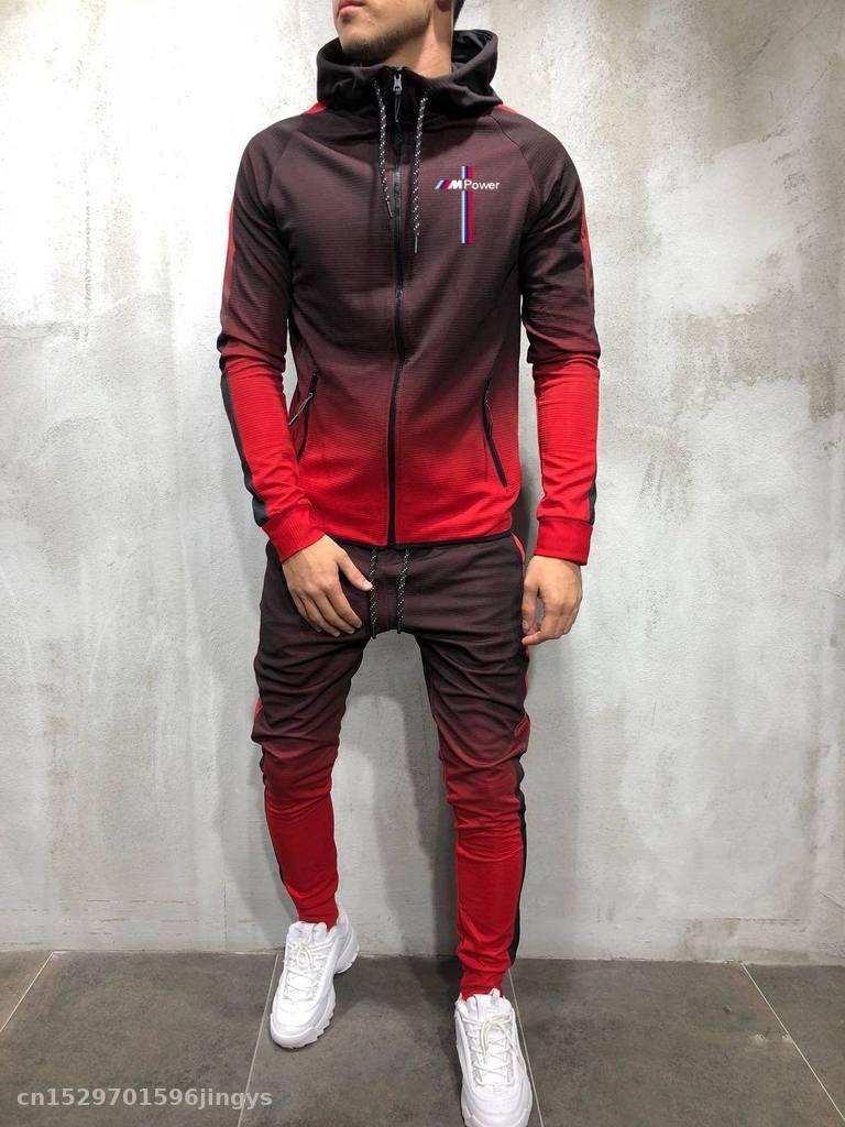 2020 Zipper Tracksuit Men Set Sporting For Bmw Power Jacket+Pants 2 Pieces Hoodies Sweatshirt &Pant Racing Suit