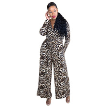 Echoine Long Sleeve Leopard Print Jumpsuit with Belt Sexy V-neck Slim Elegant Rompers Women Party Club Outfits Playsuit Overalls