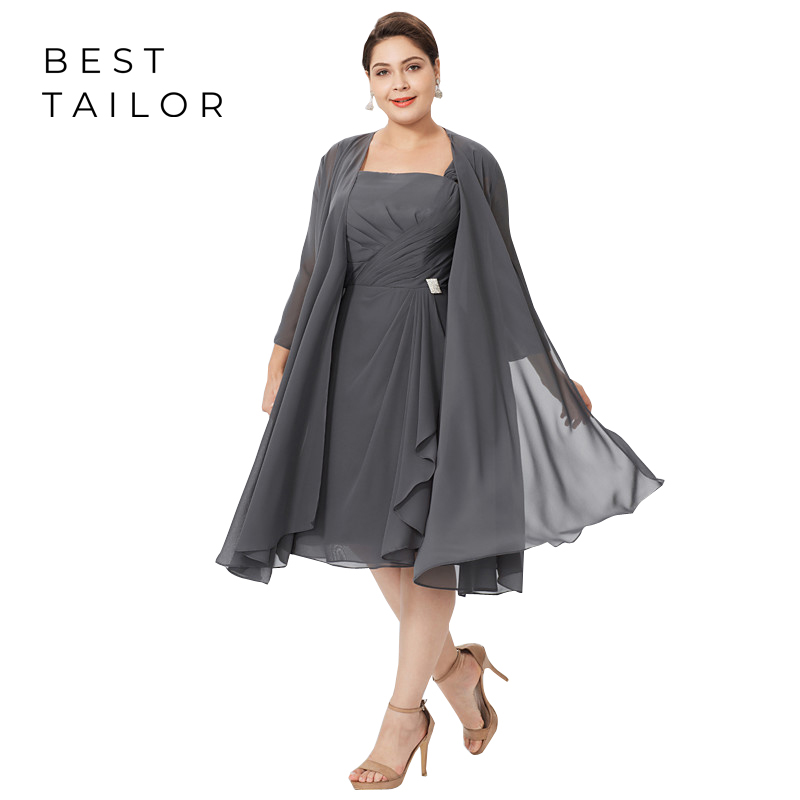 Hot Plus Size Gray Mother Of The Bride Dresses For Weddings 2019 Long Jacket Chiffon Wedding Party Gowns Madrinha Size 24W 26W