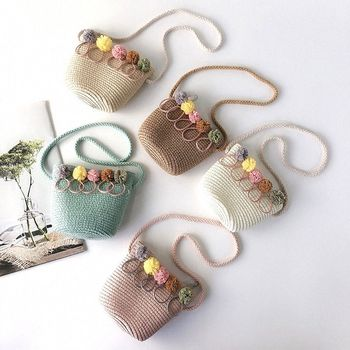Kids Crossbody Mini Shoulder Bag Children Weaving Messenger Handbags Girls Summer Straw Beach Handmade Floral Rattan