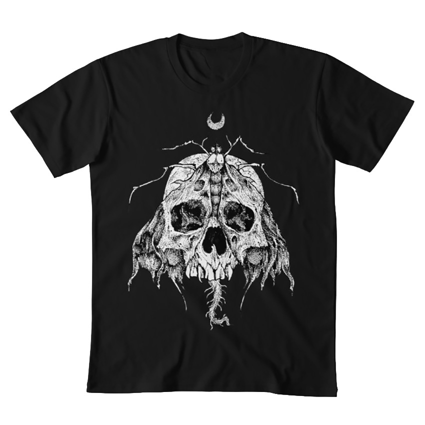 Fashion Style T-Shirt Moth Skull Rotten Fantom Skull Moth Black And White Graphics Moon Gothic Metalhead Horror For Mans