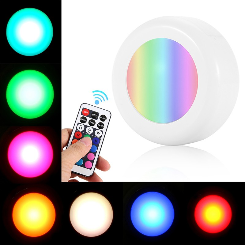 Round Dimmable Colorful Cabinet Light Touch Sensor Or Remote Control Color Changing Wardrobe Closet Wall Sticker LED Lamp