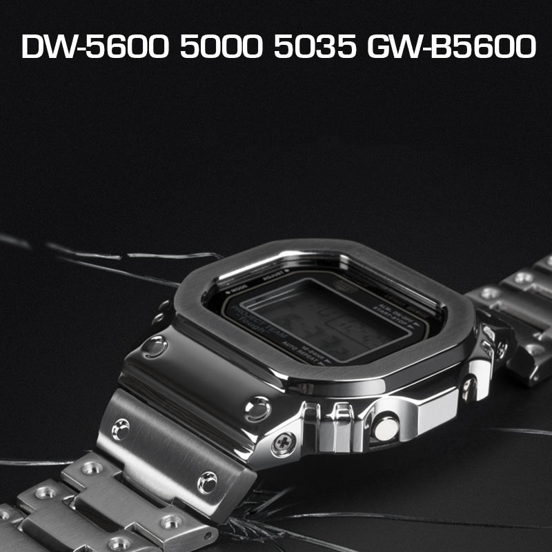 Watchband and Bezel For DW5600 GWM5610 GW5000 Metal Stainless Steel Watchband Case Frame Bracelet Accessory Repair Tool