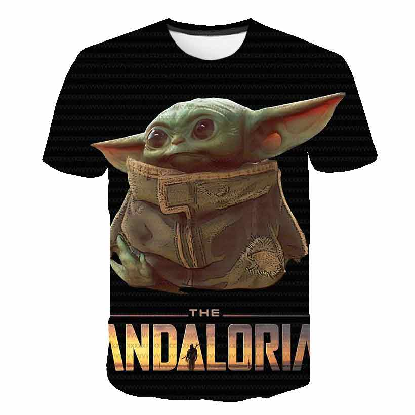 3 To 14 Kids T Shirt The Mandalorian Baby Yoda 3D Print T-shirt Boys Girls Short Sleeve Tshirt Cartoon T Shirts Children Clothes