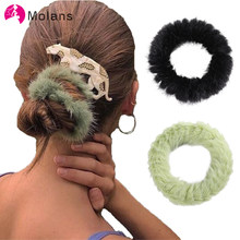 Molans 3pcs/lot Fluffy Scrunchies Sweety Fuzzy Elastic Hair Ropes Faux Fur Pastel Clueless Wrist Cuff Bracelet Girl's Scrunchy(China)