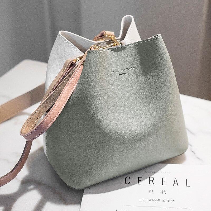 Contrast color bucket bag new simple and elegant female bag shoulder messenger bag classic casual fashion contrast color bag