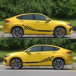 Image 3 - Car Both Side Stripes Decals Stickers Auto Vinyl Graphics Checkered Flag For Automobiles Truck SUV High Quality Car Stickers