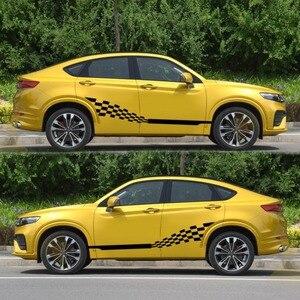 Image 3 - Voiture deux bandes latérales autocollants autocollants Auto vinyle graphiques drapeau à carreaux pour Automobiles camion SUV haute qualité voiture autocollants
