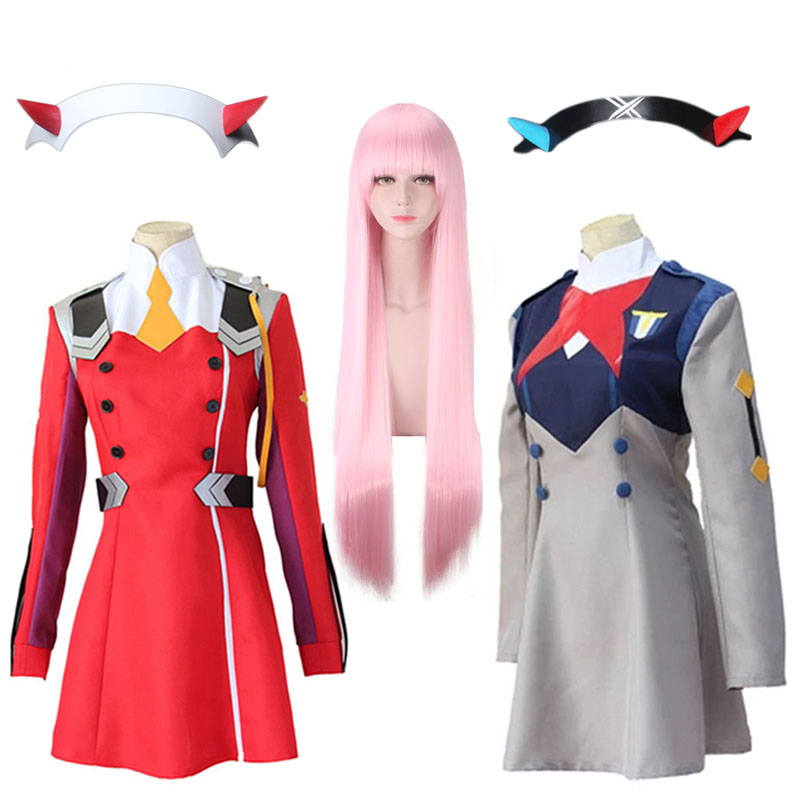 Anime Cosplay Costume DARLING In The FRANXX Code002 Short Skirt Uniform Pink Wig Devil Horn Headdress