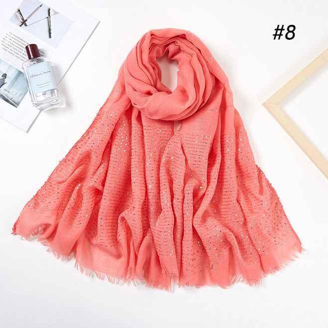 Glitter Stripe Sequins เหนียวผ้าพันคอผ้าพันคอผู้หญิง Wraps ธรรมดามุสลิมฮิญาบแถบคาดศีรษะ Fringe Headscarf อิสลามผ้าคลุมไหล่ยาว 70x180 ซม.