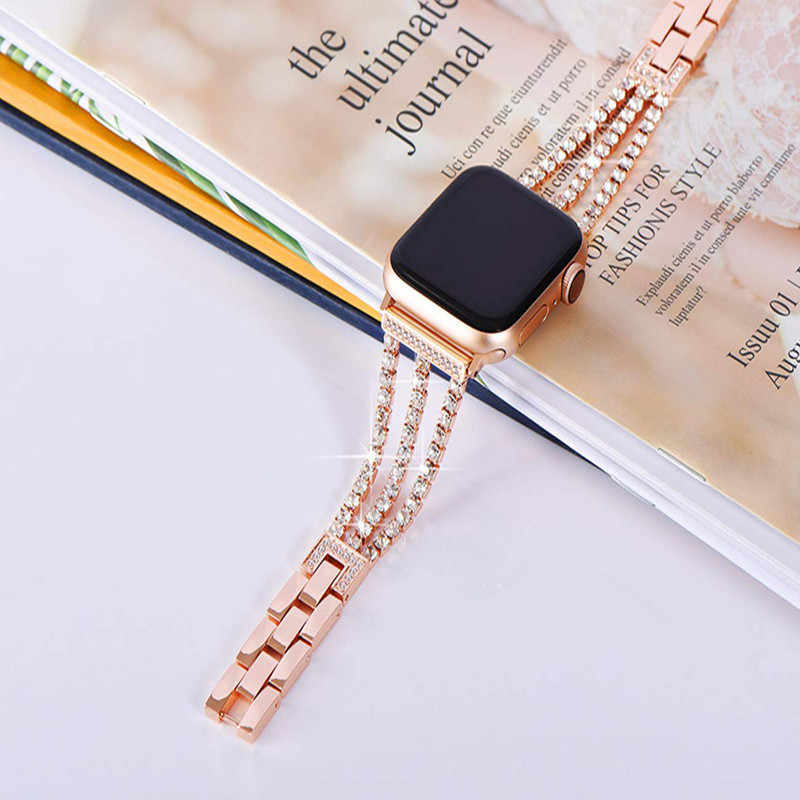 woman diamond apple watch band 44mm 42mm 40mm 38mm iwatch strap series 5 4 3 2 iphone watch bracelet stainless steel wristband