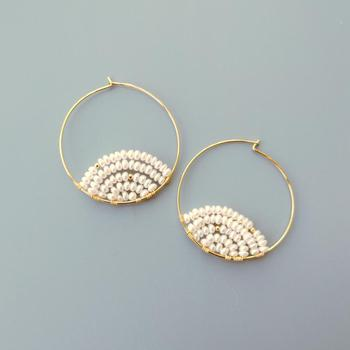 Lii Ji White Freshwater Pearl High Luster Hoop Earrings 925 Sterling Silver 18K Gold Plated Handmade Delicate Elegant Jewelry фото