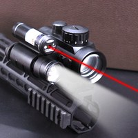 Hunting Riflescope Sight Red Dot For 11mm Or 20mm Rail With Tactical Red Dot Laser Sightseeing Sight + 800 Lum Flashlight Torch