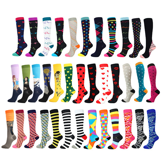 Running Men Women Socks Sports Compression Happy Tube Socks Support Nylon Unisex Outdoor Racing Long Pressure Stockings High