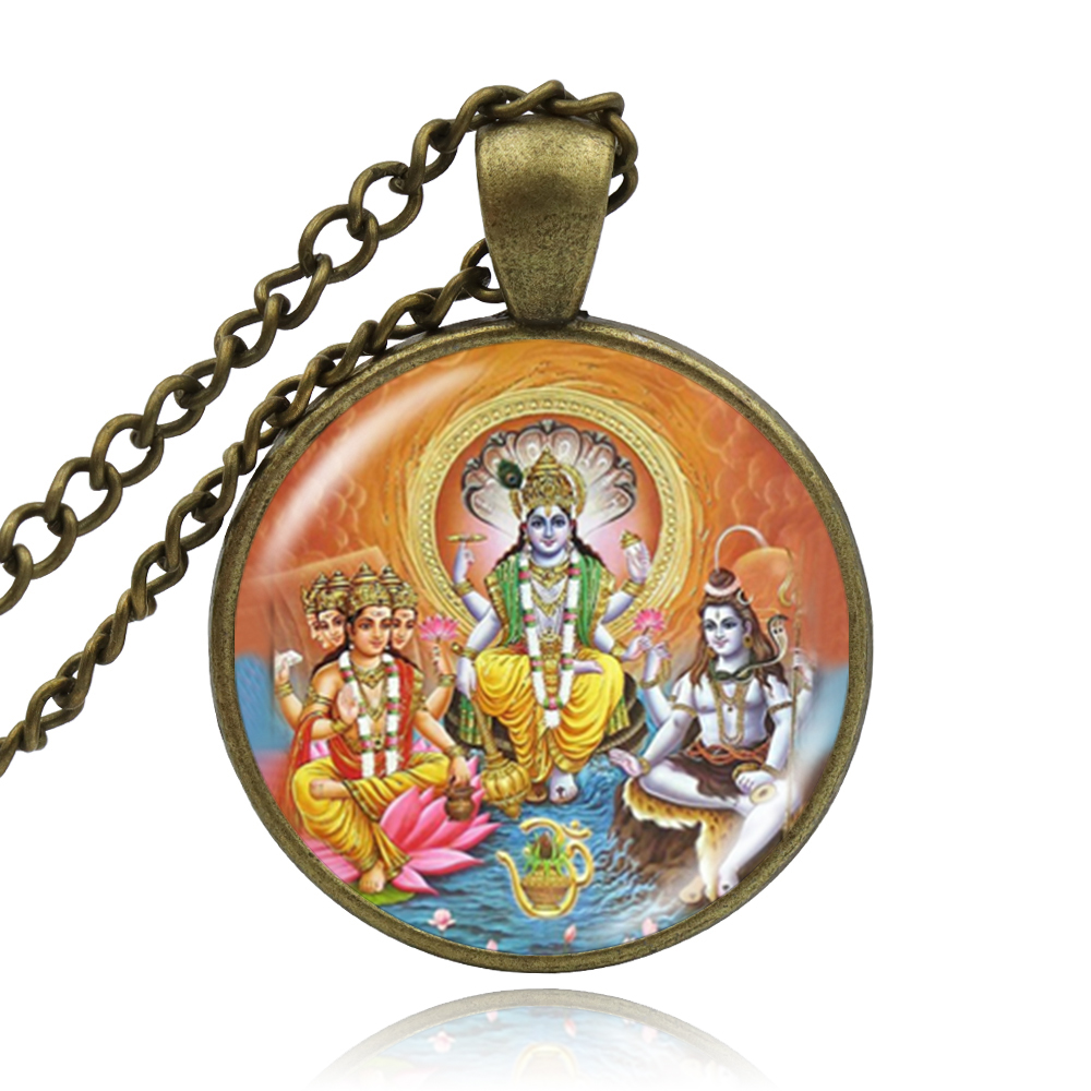 Handmade Buddhist Lord Shiva Necklaces Hindu God Buddha Necklace Charm Religious Pendant Hinduism Necklace Jewelry