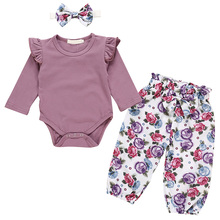 Girls Cotton Three-piece Suit Purple Long-sleeved Floral Trousers Plus Head Knot 998