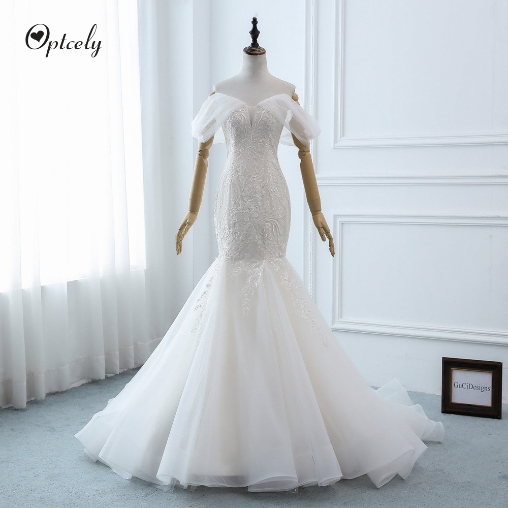 Optcely Sexy Sheath Mermaid Sweetheart Neck Wedding Dress 2019 Charming Off-the-shoulder Lace Appliques Sweep Train Bridal Gowns