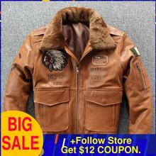 2020 Brown Men Military Pilot Leather Jacket Plus Size XXXXL Wool Collar Genuine