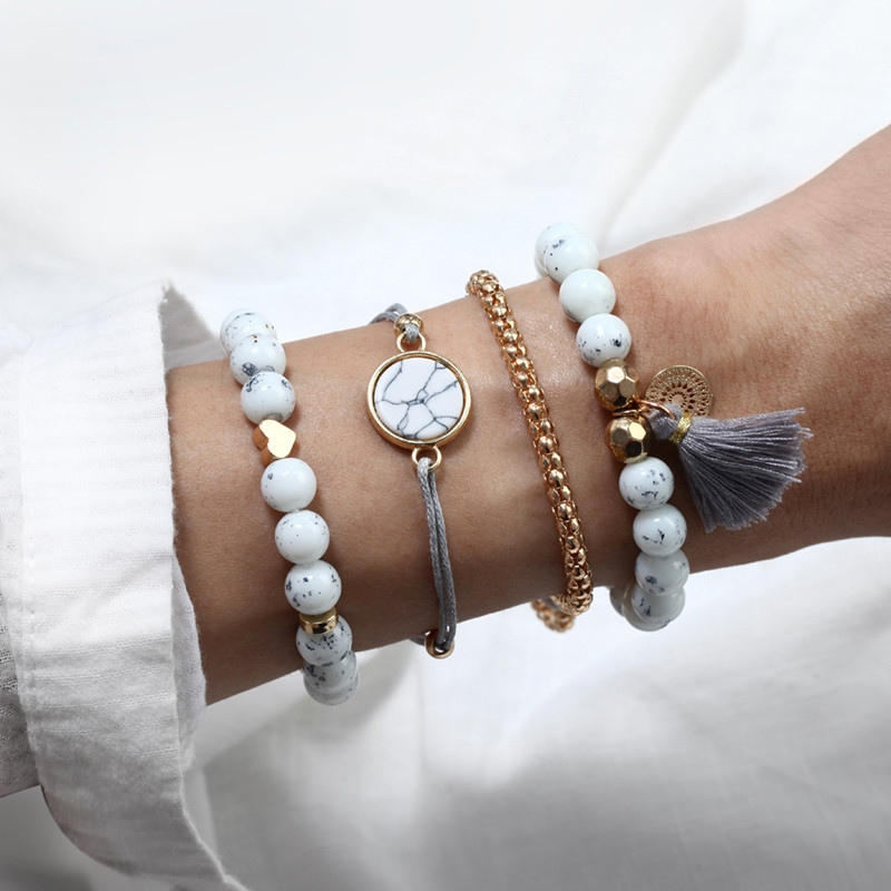 18 Styles Bohemian Bracelet Set For women Shell Star Map lotus pineapple Heart Natural stone Beads chains Bangle Jewelry 2020