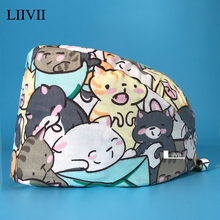 Cartoon anime Soft Hat Printing Nurse Sweat-absorbent Head Wrap Towel Surgical Anti-Dirty Pure Cotton Cap With Button Scrub Cap