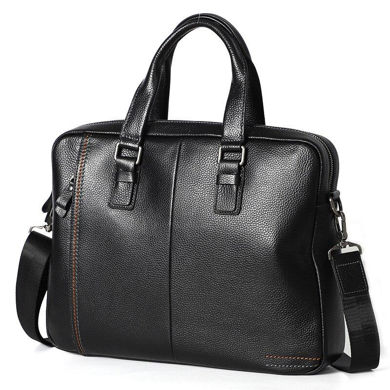2019 100% fourre-tout en cuir véritable peau naturelle hommes serviette hommes sac d'affaires sac à main mâle 14 pouces ordinateur portable sacs à bandoulière