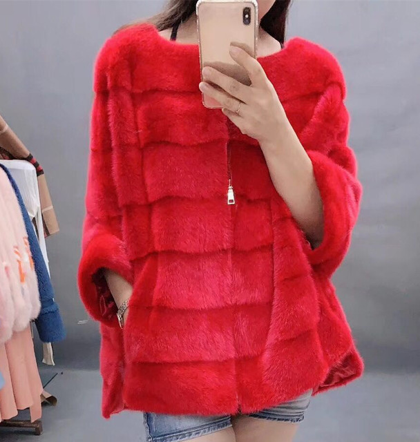 New Luxury women natural mink fur coat stripe zipper cardigan overcoat