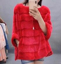 Nuevo abrigo de lujo para mujer Abrigo de piel de visón natural a rayas con cremallera