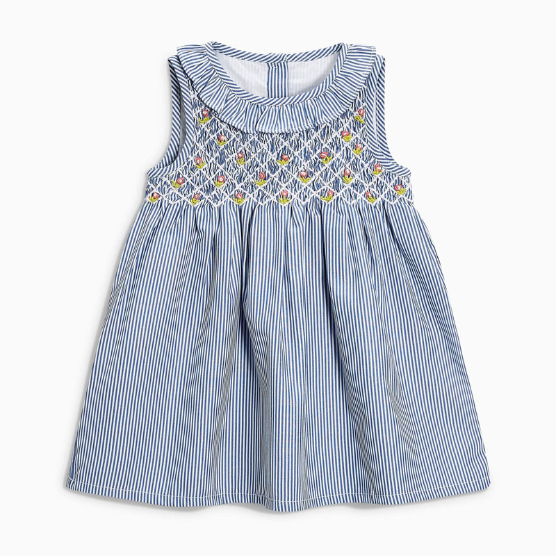 Little Maven New Summer Kids Light Blue Striped Turn-down Embroidery Girls 2-7yrs Short-Sleeved Cotton Woven Smock Dresses