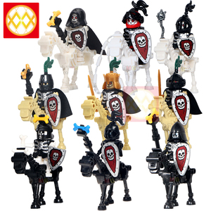 Medieval Castle Kingdoms Knights skeleton Rider Green dragon Red dragon Knights Building Blocks Figures Kids Toys For Children(China)