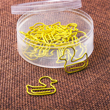 15Pcs/Box Cute Duck Animal Metal Bookmark Paper Clips For Book Marker Binder Photo Memo Clip Stationery School Supplies