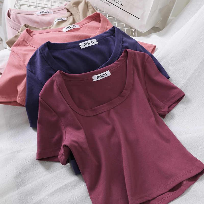 """Áo Sơ Mi Nữ Mùa Hè 2020 Camiseta Mujer """"Quần Áo Hàn Quốc Unif Crop Top Ngắn Tay Màu Cổ Áo Thun Femme Dạo Phố"""