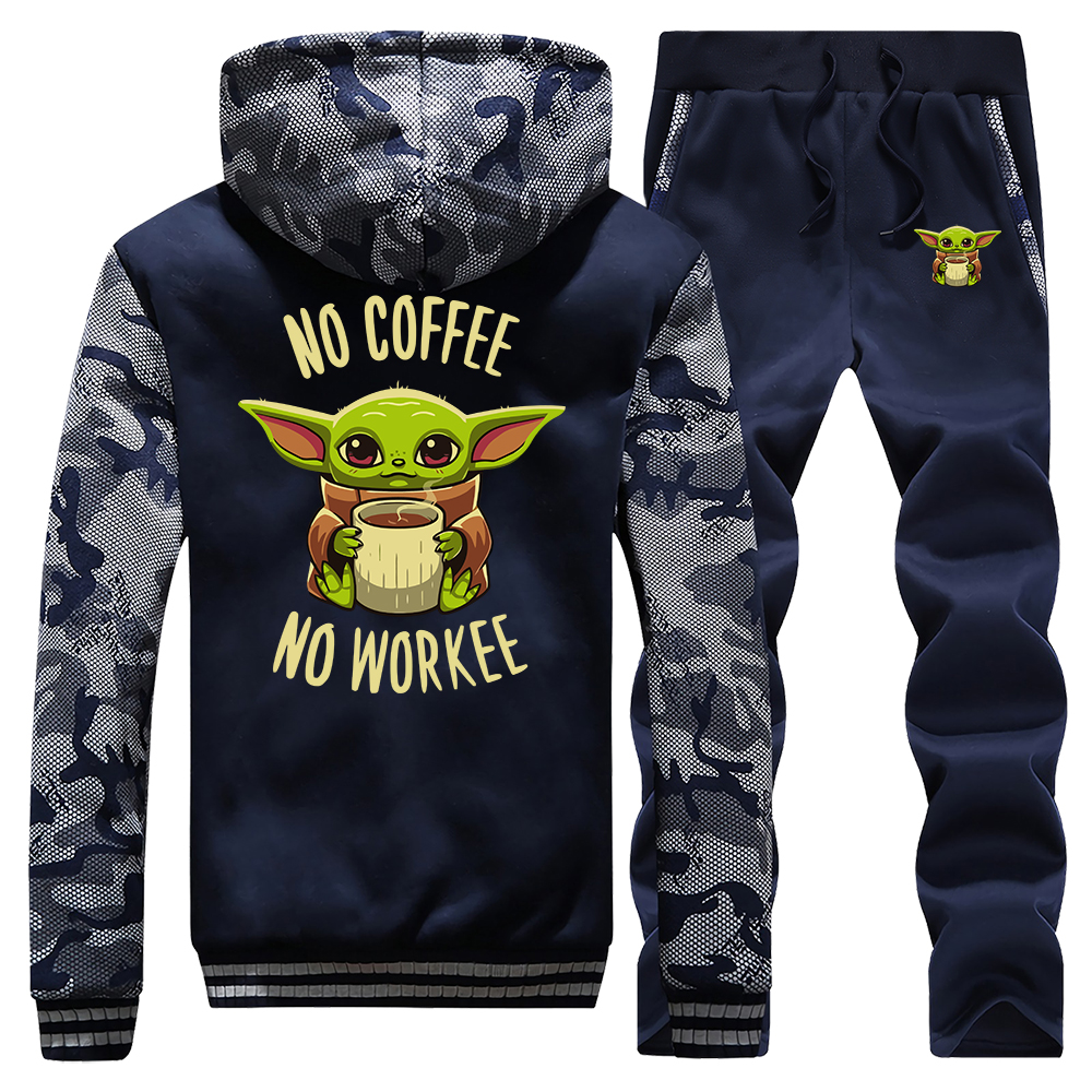 The Mandalorian Tracksuit Thick Fleece Suit Cute Baby Yoda No Coffee No Workee Hoody Star Wars Hoodie Sweatshirt + Pants Men Set