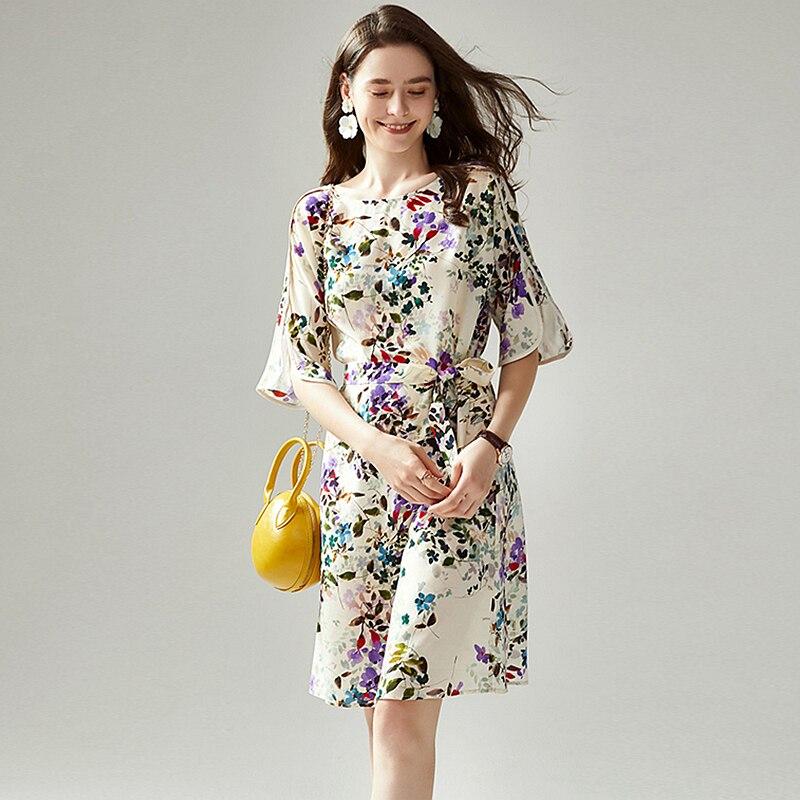 Vestido de Seda Decoração em Torno do Pescoço Mid-length a Line Mulher Floral Impresso Meia Manga Cintura Emagrecimento Vestido Moda Casual 100%