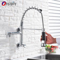 Onyzpily Kitchen Faucet Pull Down Chrome Single Cold Water Wall Mounted Kitchen