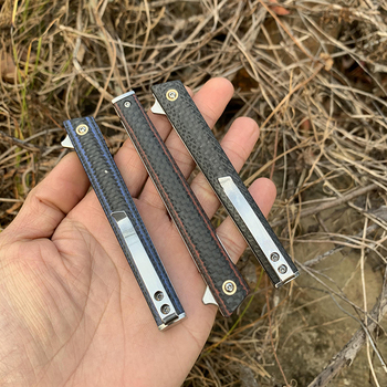 TUNAFIRE  high-end magic pen carbon fiber folding knife  D2 blade EDC Tactical Survival Knives for Hunting Camping 6