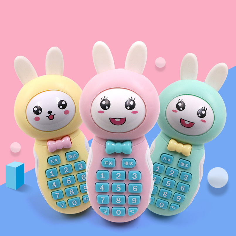 Baby Rattles Toys Rabbit Newborn Hand Bells Teether Baby Toys 0-12 Months Muscial Change Face Educational Mobile Toys For Baby