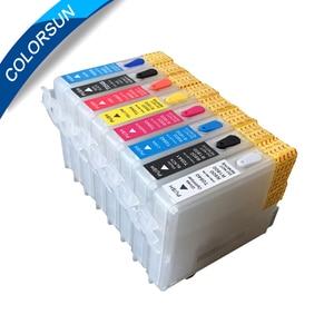 Многоразовый чернильный картридж Colorsun 8 цветов для epson R800 R1800 с чипом ARC, чернильный картридж для epson R800 R1800 с T0540-T0549