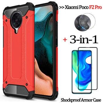 3-in-1 armor glass case pocophone f2 pro 2020 luxury anti-fall phone cover redmi 9 s mi note-9s 9pro max case xiaomi poco f2 pro