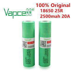 Vapcell 100% Original INR 18650 25R 2500 mah 20A 3.7V Rechargeable Li Ion Battery Batteries Cell For Power Tools flashlights