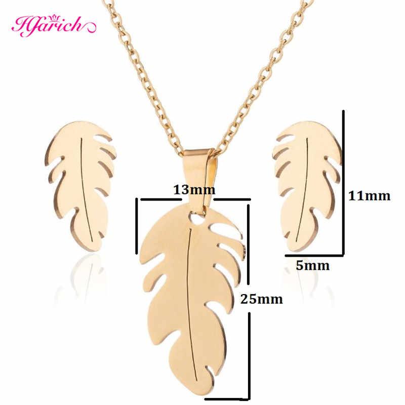 Hfarich ze stali nierdzewnej zestaw dla kobiet Feather kształt naszyjnik kolczyki biżuteria biżuteria zaręczynowa sportowe do koszykówki kołnierz