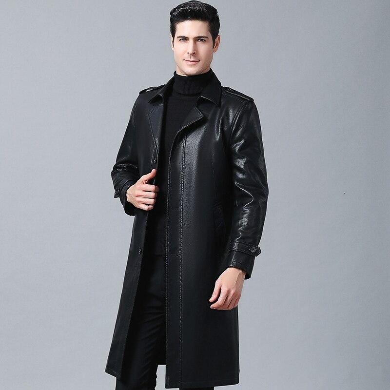 Men's X-Long Leather Jackets Black Sheepskin Coat Jacket Men Casual Male Faux Leather Coats  Clothing