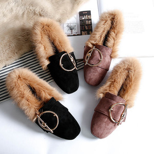Image 5 - BEYARNE2019 new fashion rabbit fur flat shoes flip plus velvet casual shoes Europe and large womens shoesE1104